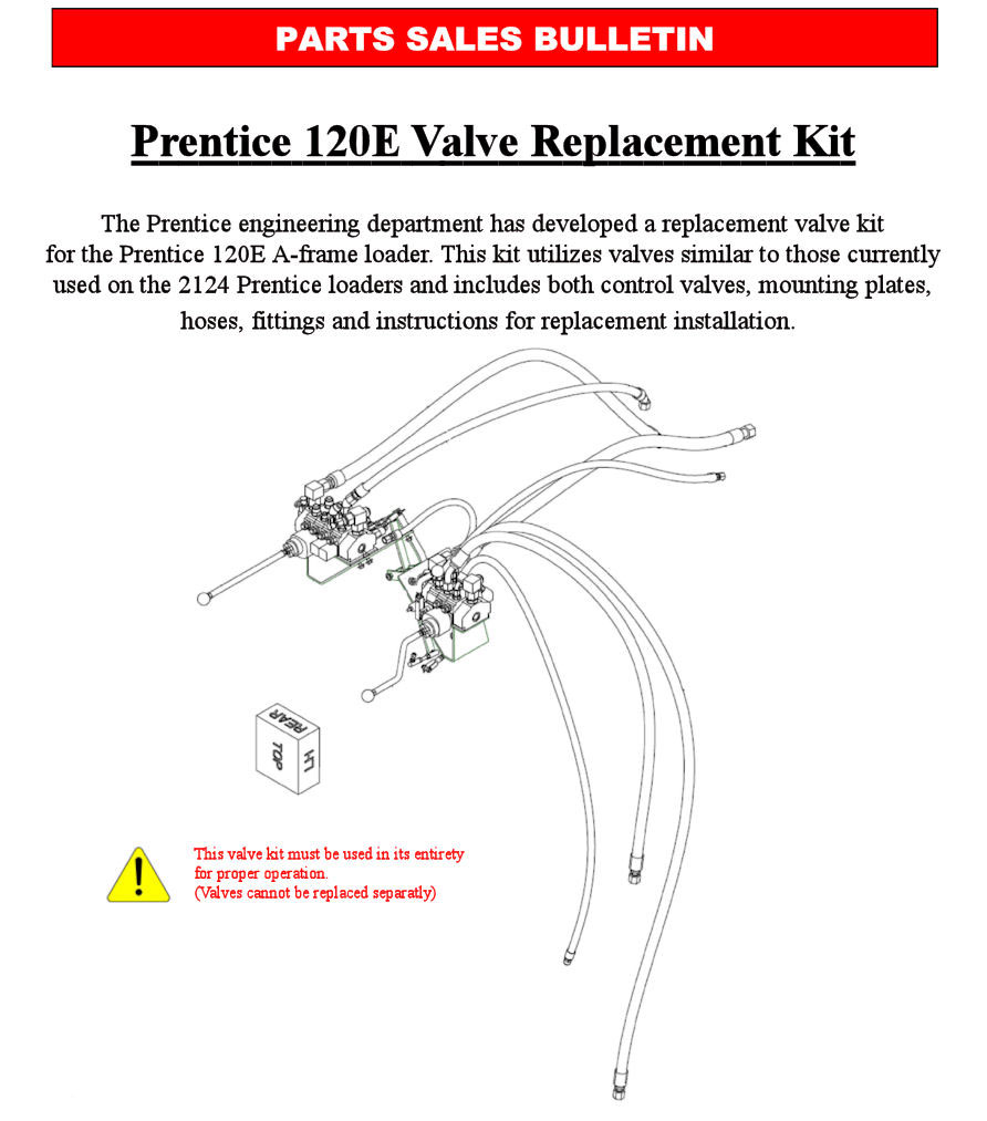 warning note: these are the only valves approved by prentice engineering  for the replacement of original valve assemblies
